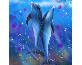Atlantic Angels - Digital Painting of Dolphins produced as a Professional Quality Artist Signed Print - 20x16 inch
