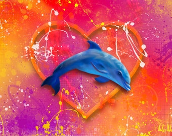 Dolphin Love - Digital Painting produced as a Professional Quality Artist Signed Print - 20x16 inch