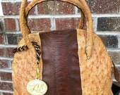 Genuine Ostrich Skin Handbag - Large