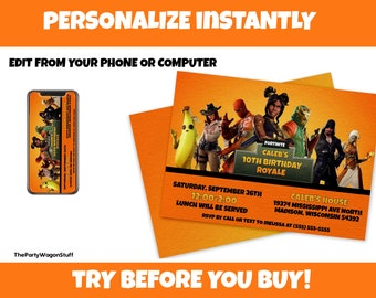 picture about Fortnite Birthday Card Printable identify Fortnite invitation Etsy