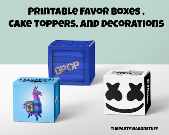 Fortnite Printable Favor Boxes Cake Topper And Decorations Fortnite Party Supplies Instant Download Loot Llama Drop Box Supply Drop