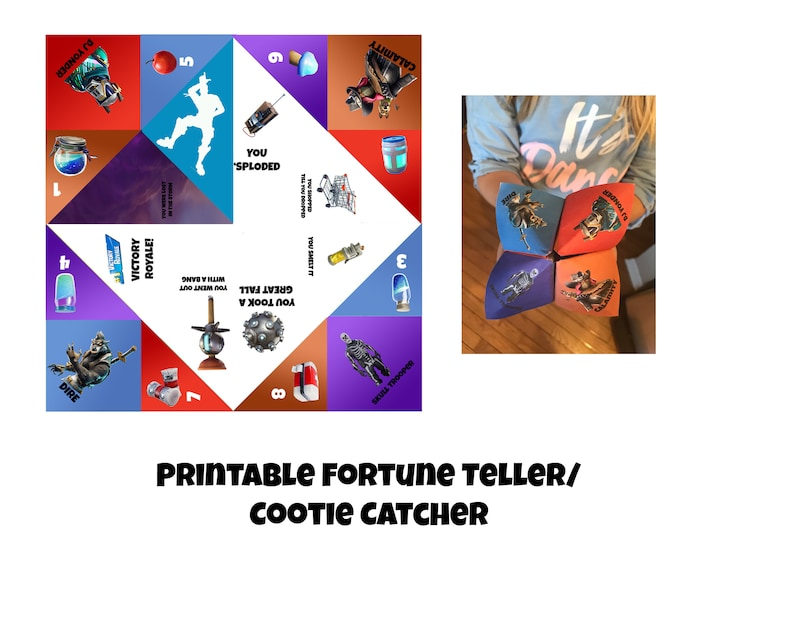 photograph regarding Printable Fortune Teller referred to as Fortnite Fortune Teller or Cootie Catcher, Printable Craft, Fortnite Birthday Occasion Video game, Electronic Down load, Quick down load, Combat Royale