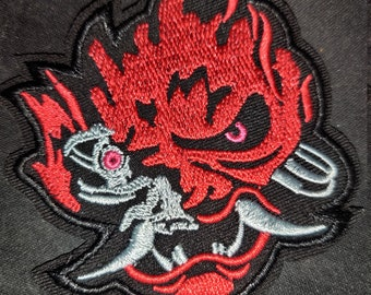 Samurai cosplay embroidery patch  V cosplay  Johnny Silverhand/'s jacket  Cyberpunk themed gift  Iron-on or sew-on