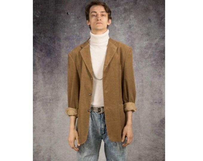 Carmel color corduroy blazer, vintage 90s minimalist men's cord jacket