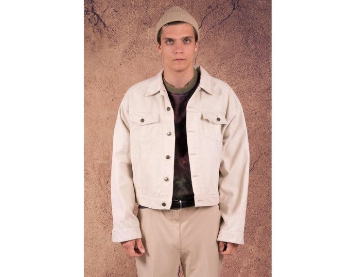 Vintage 90s cream color Denim Trucker jacket Moohamenswear vintage clothing •