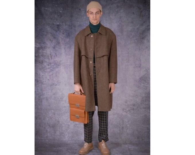Vintage 90s men's broen , single breasted balmacaan wool coat / menswear vintage clothing