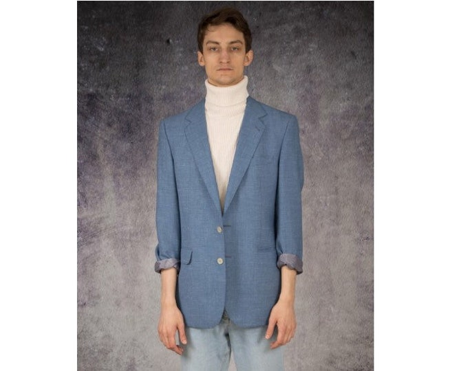 Vintage 90s minimalist, classic, casual, light blue, 2 buttons mens blazer or jacket / Vintage clothing by MOOHA