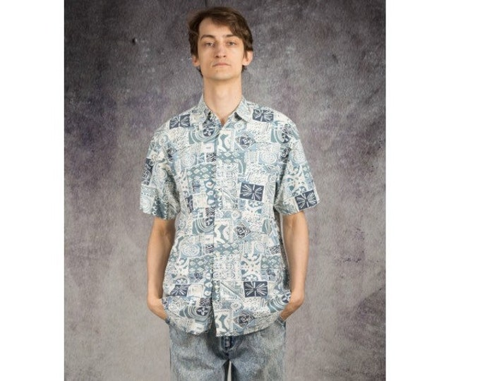 Men's summer shirt with short sleeve abstract blue print • Vintage clothing size S/M