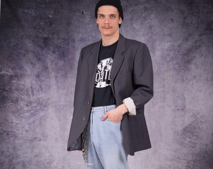 Vintage 90s amazing dark grey, striped, wool blazer, both glam and minimalistic men's casual jacket / Mooha Menswear