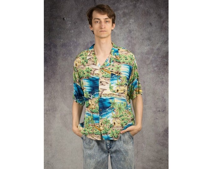 90s mens Hawaiian shirt with short sleeve colorful print collar