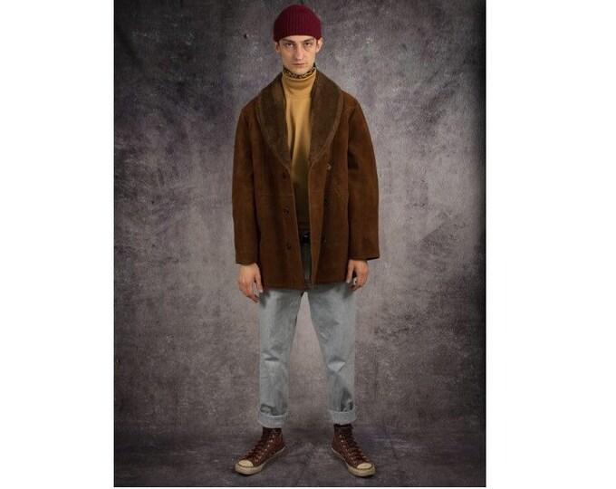 Vintage 70s brown faux sheepskin men's Shearling bekesha coat / Sherpa jacket / Winter Leather Brown Overcoat