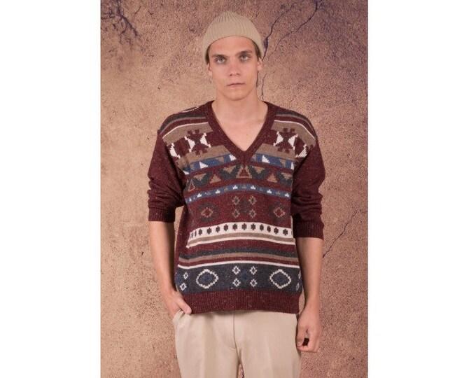 Vintage 90s graphic design V neck Sweater, Vintage men's Knit Pullover size L