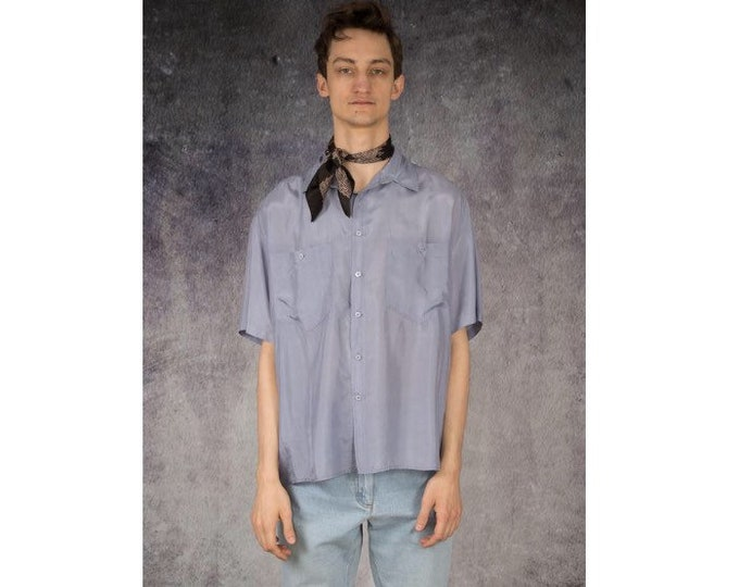 Light blue old school 90s pure silk short sleeve silk collar button up shirt / MOOHA menswear