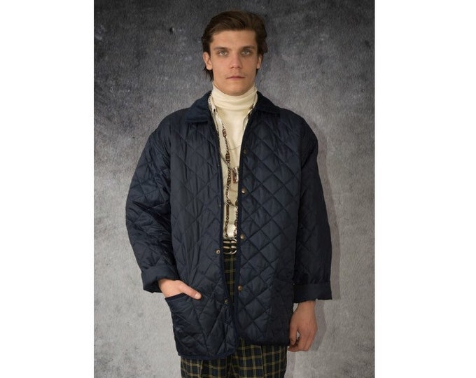 Vintage 90s Men's Navy Blue Jacket with diamond quilting/ Menswear Old School Clothing Size M