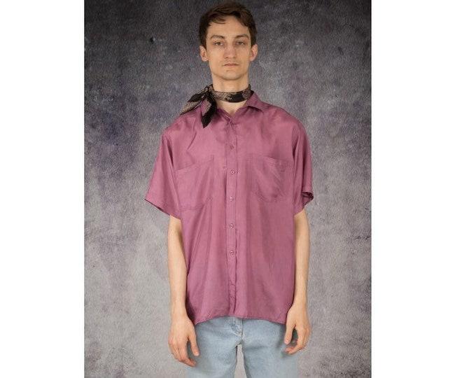 Mens vintage 90s pure silk short sleeve pink color silk collar button up shirt / MOOHA menswear