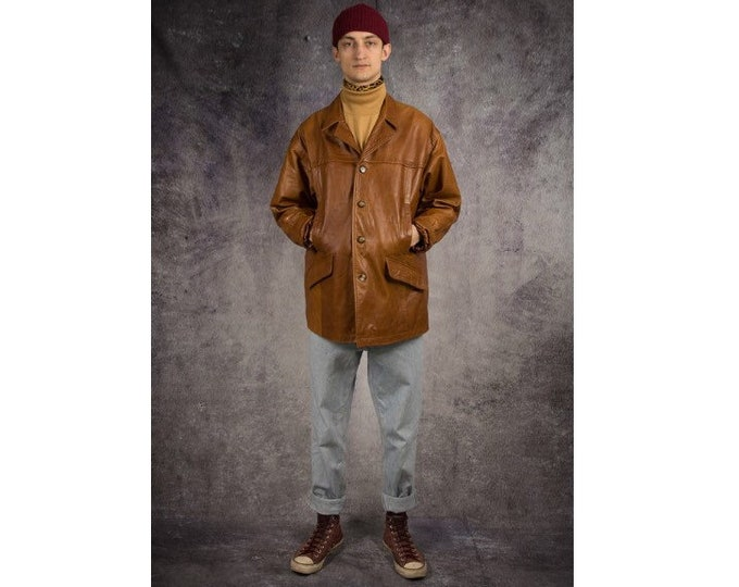 Old school 90s camel brown, heavy real leather men's car jacket / vintage menswear by MOOHA