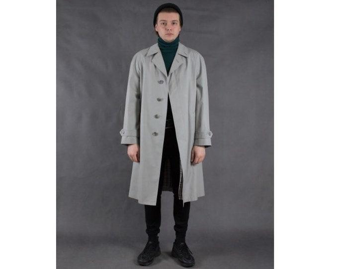 Vintage 90s men's light gray classic short trench coat / menswear vintage clothing size M