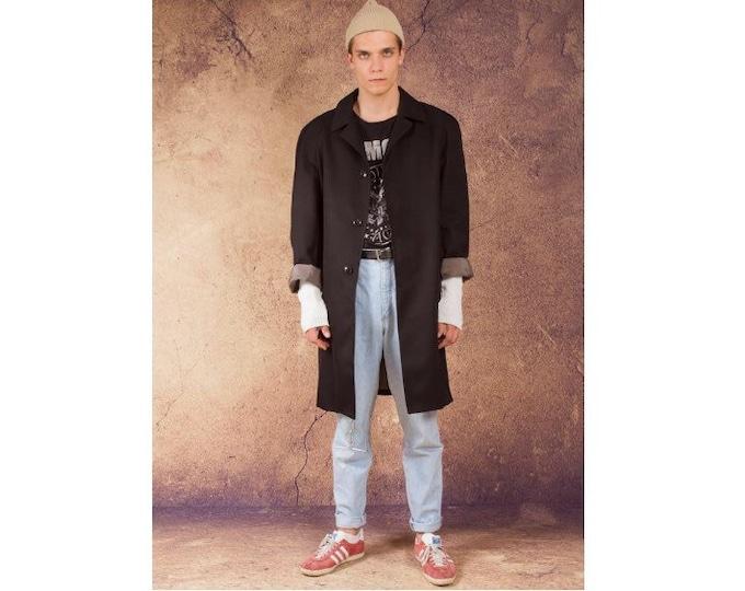 Vintage 90s men's winter black trench coat / menswear vintage clothing