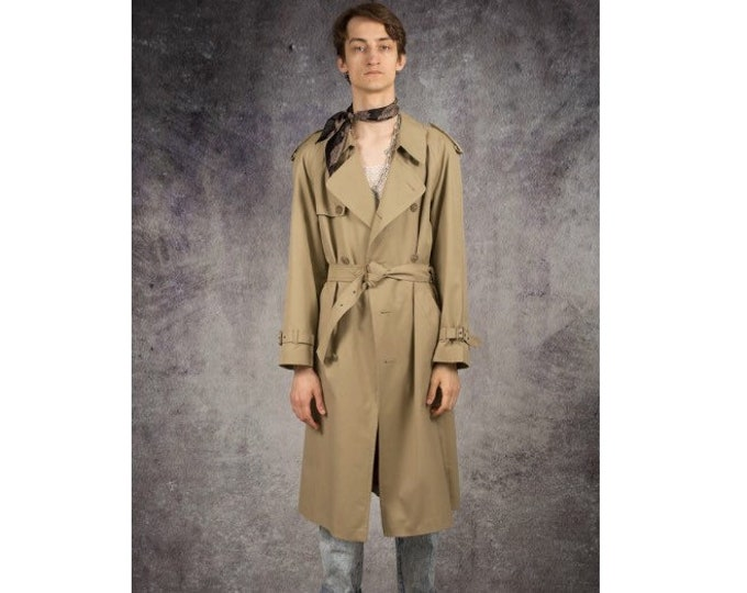 Retro 90s men's minimalist, beige long trench, detective coat / menswear vintage clothing by MOOHA