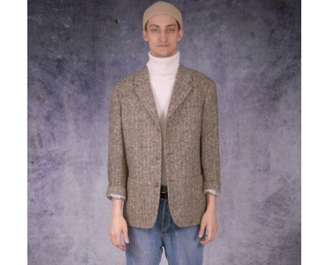 Vintage 90s casual, classic, amazing beige wool plaid blazer for vintage clothing fans / MOOHA menswear