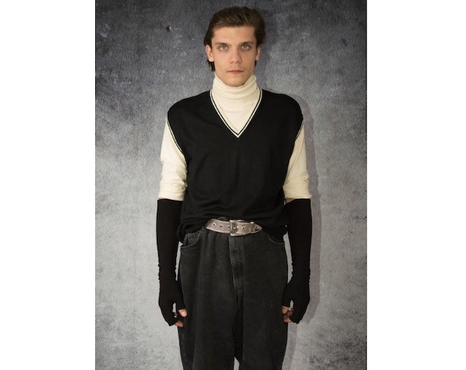 Men's Vintage 90s, Classy, Solid black Vest / Gilet with V Shape White Bordered Neckline / Old School Menswear