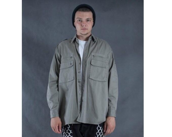 Men's Vintage 90s khaki denim, long sleeve collar shirt size M/L
