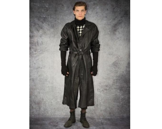 Eye - Catching Vintage 90s Men's Black, Faux Leather, Ankle Length Coat / Old School Rock, Steampunk Look