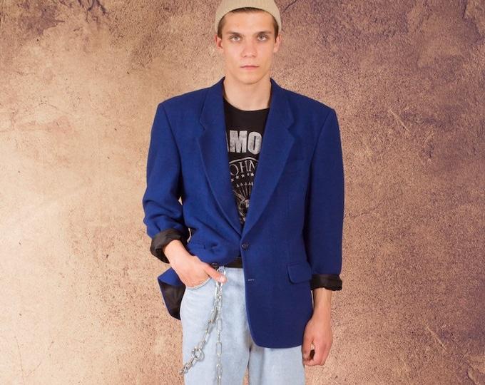 Royal blue 80pc wool blend men's 80s blazer • Vintage minimalist men's jacket size M