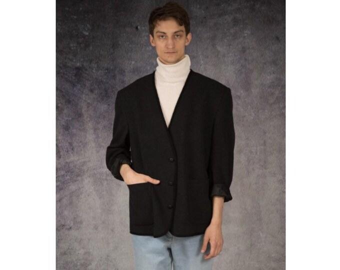 Vintage 90s classic black, wool mens blazer jacket • menswear vintage clothing by MOOHA