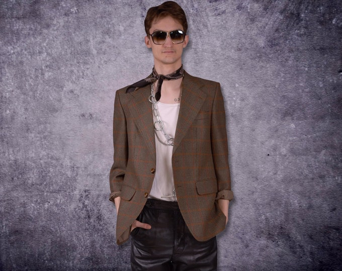 Vintage 90s minimalistic, brown, wool blend, checkered blazer, jacket / Vintage clothing by Mooha
