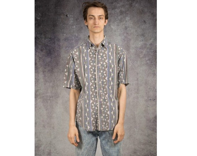 Old school 90s Men's summer shirt with short sleeve abstract blue print • Vintage clothing size S/M