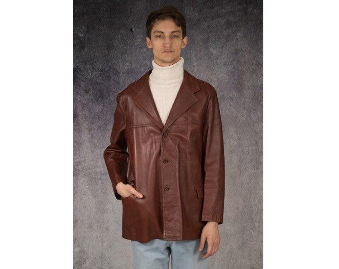 Vintage 90s brown real leather men's blazer / jacket / vintage menswear by MOOHA