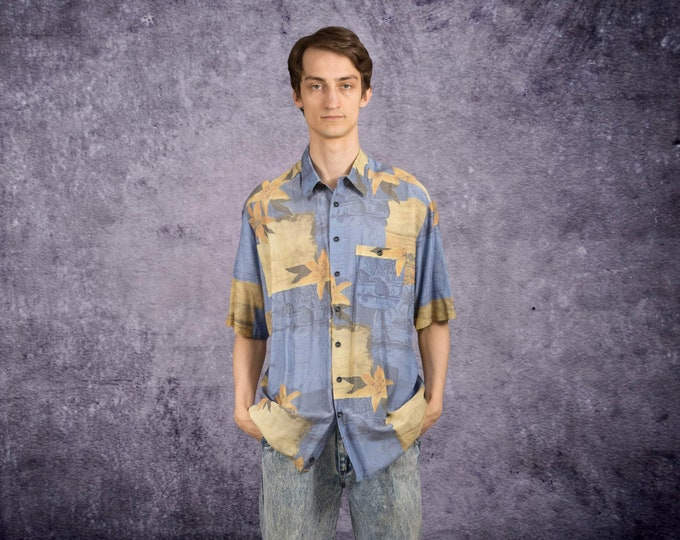 Men's Vintage 90s  holidays shirt with short sleeve abstract print and collar