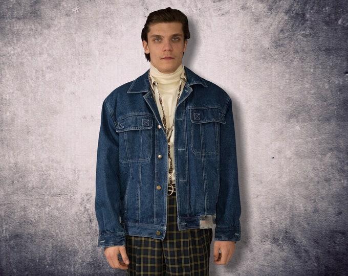 Mens Vintage dark blue denim bomber Jacket with faux fur quilting. 80s jeans outerwear