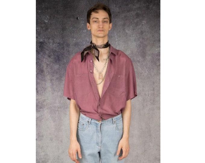 90s retro mens pure silk short sleeve pink color silk collar button up shirt / MOOHA menswear
