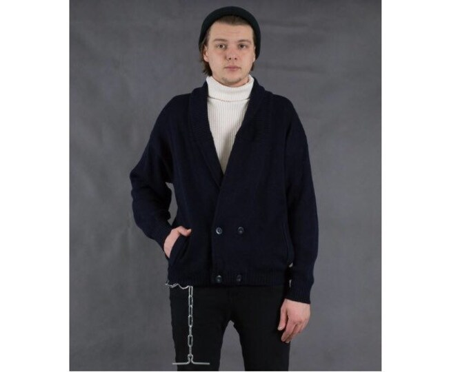 90s vintage solid navy blue knit cardigan with a shawl collar • Men's Vintage Clothing by Mooha