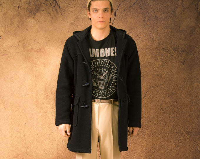 Vintage 90s men's black duffle coat with a hood and lining • menswear vintage clothing