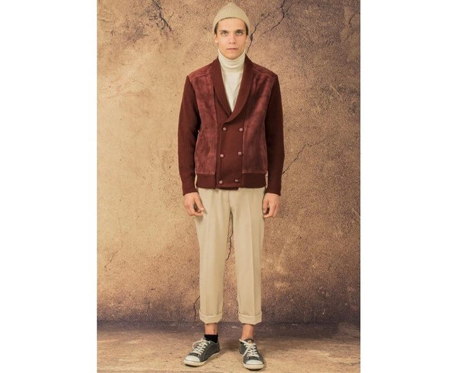 Vintage 70s maroon, real leather and knit classic casual  men's jacket
