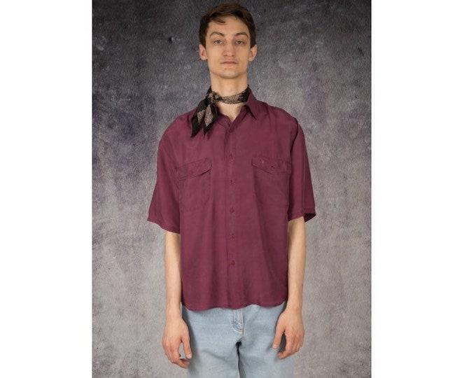 Awesome purple 90s pure silk short sleeve silk collar button up shirt / MOOHA menswear
