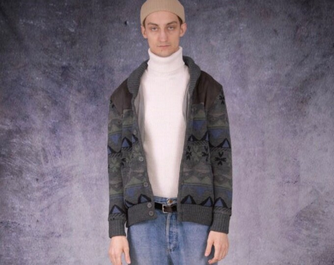 Classy vintage men's  grunge slouchy patterned knit cardigan  or jacket from the 90s / Perfect Chunky Boyfriend gift size L