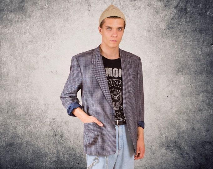 Blue and gray Houndstooth men's wool blazer, vintage 90s minimalist size L