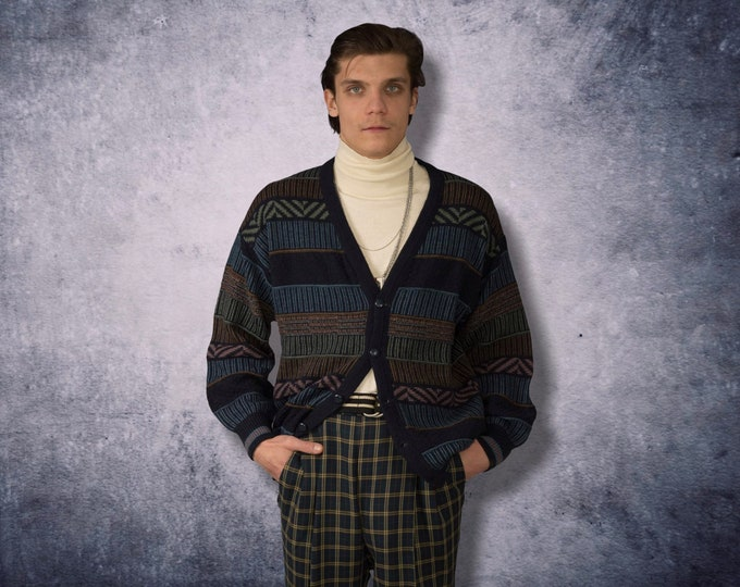90s vintage men's slouchy patterned grunge knit sweater / cardigan • Perfect Chunky Boyfriend gift size L