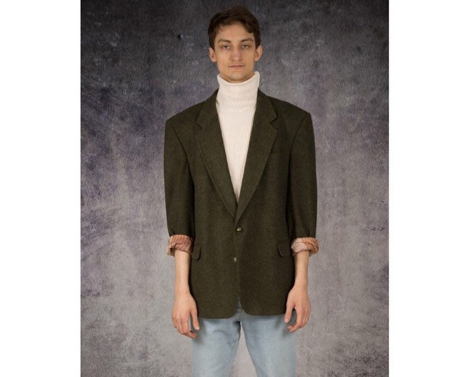 Vintage 90s casual, dark green, wool blend mens blazer, vintage 90s grunge men's jacket