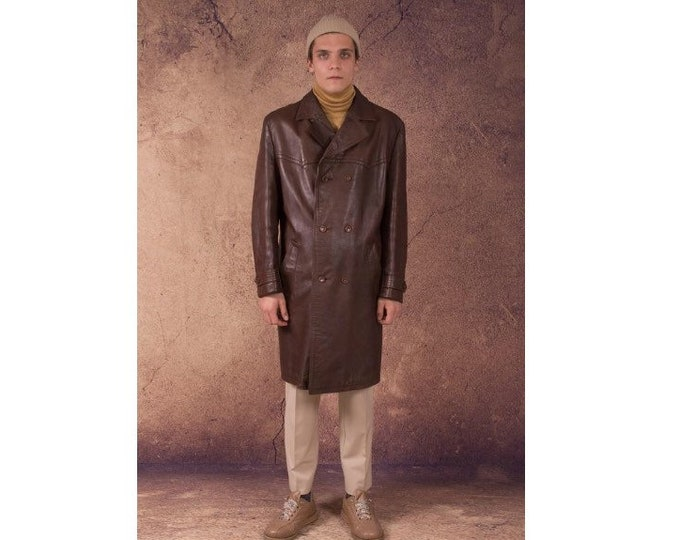 Vintage 70s brown, real, thick and heavy leather grunge men's classic, short trench coat / long jacket