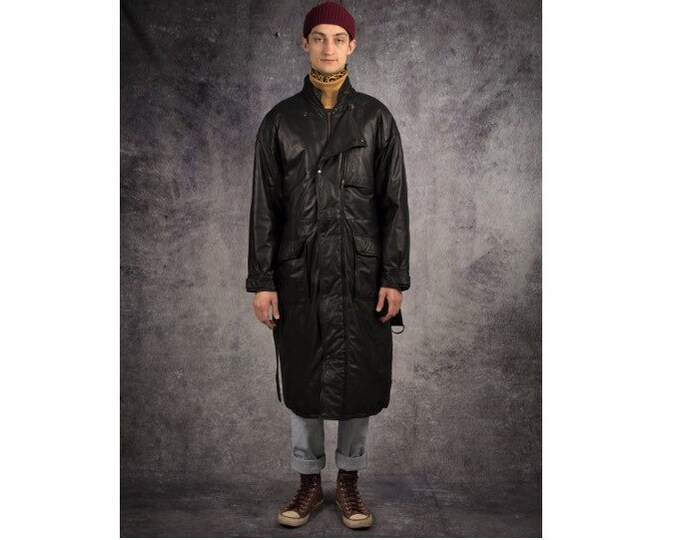 Retro 90s Genuine heavy leather, black men's classic trench coat / Vintage clothing by Mooha