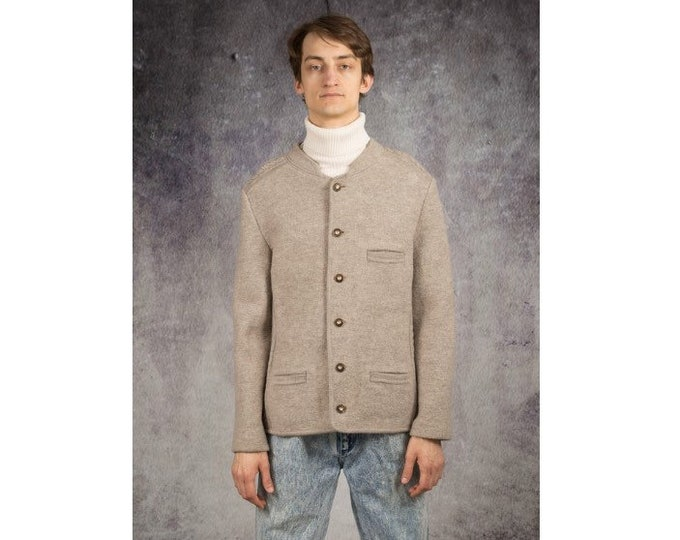 Retro 90s light gray, wool Tyrol style mens Janker Jacket / blazer / Trachtenjanker • menswear vintage clothing size L