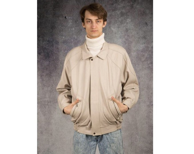 Men's Vintage 90s real leather, classic cream color  minimalistic casual  bomber jacket size L  MoohaMenswear