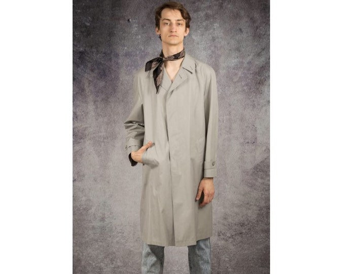 Old school 90s men's gray, classic detective coat / menswear vintage clothing size M