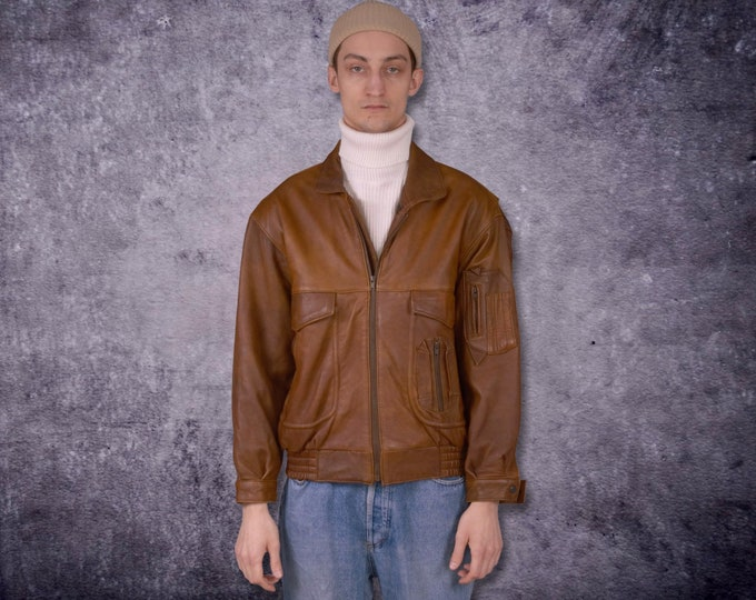 Vintage 80s real leather, classic minimalistic casual, brown men's biker jacket / MoohaMenswear