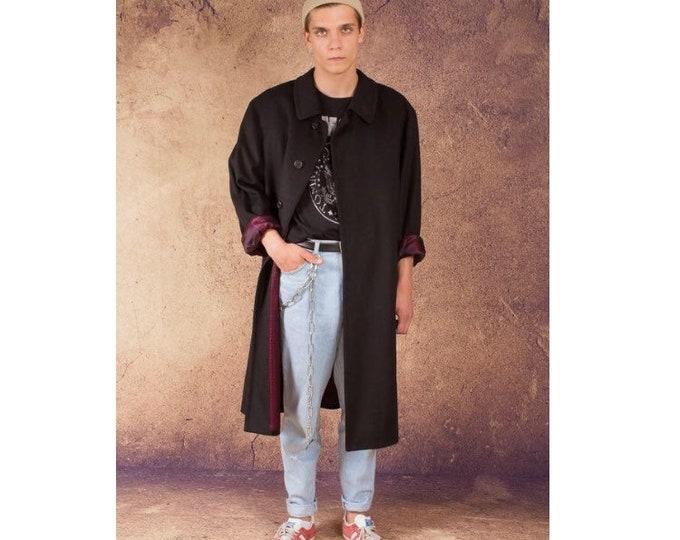 Vintage 90s Luxurious wool and alpaca blend dark gray winter long coat / menswear vintage clothing